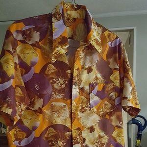 Retro Polyester Kitten Shirt 😻